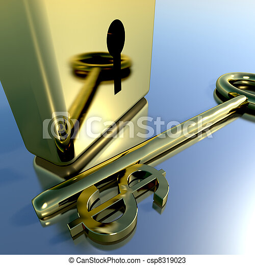 Dollar Key With Gold Padlock Showing Banking Savings And Finances - csp8319023