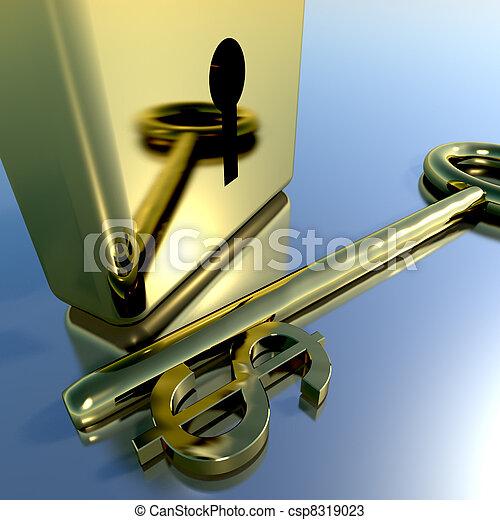 Dollar Key With Gold Padlock Showing Banking Savings And Finances  - csp8319023