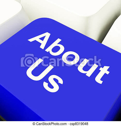 About Us Computer Key In Blue For Website Details  - csp8319048