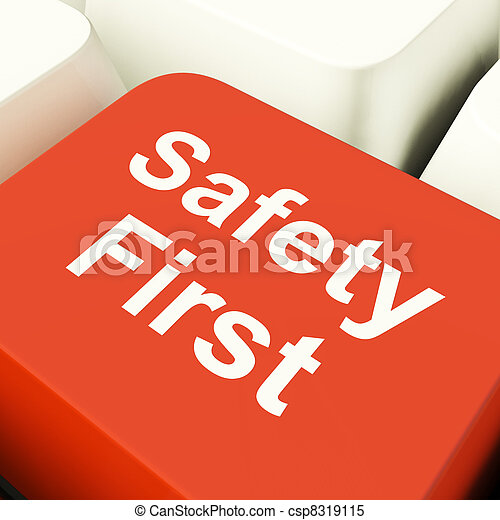 Safety First Computer Key Showing Caution Protection And Hazards - csp8319115