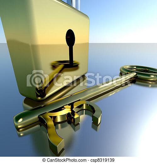 Pound Key With Padlock Showing Banking Savings And Finance - csp8319139