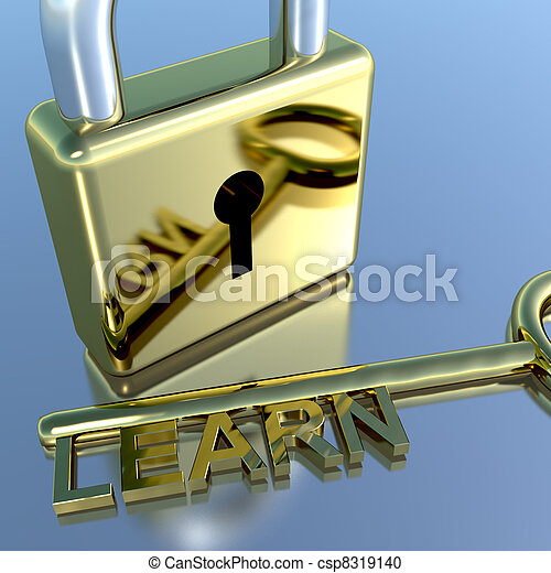 Padlock With Learn Key Showing Education Learning And Courses - csp8319140