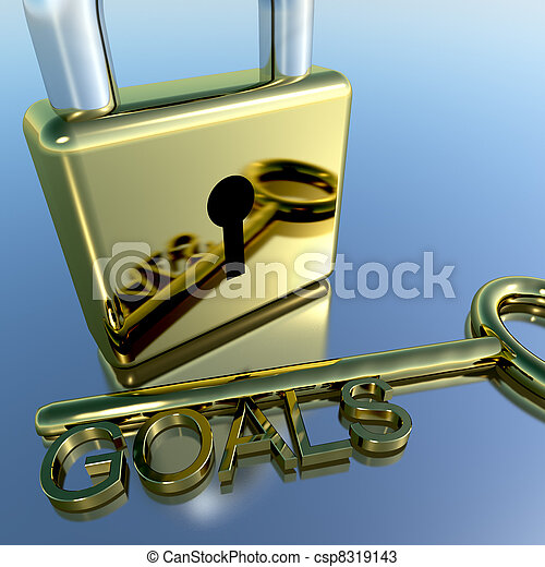 Padlock With Goals Key Showing Objectives Hope And Future - csp8319143