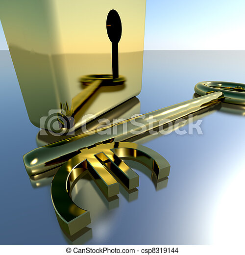 Euro Key With Gold Padlock Showing Banking Savings And Finance - csp8319144