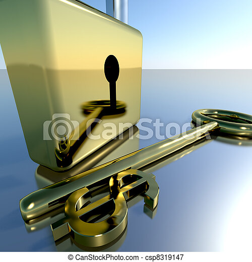 Dollar Key With Padlock Showing Banking Savings And Finance - csp8319147