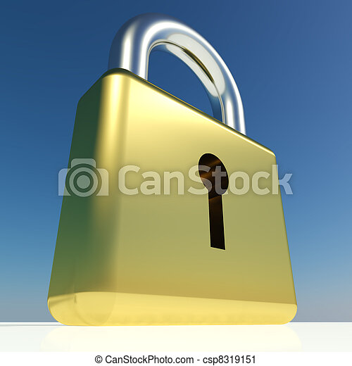 Big Padlock Showing Security Protection And Safety - csp8319151