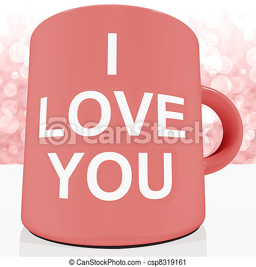 I Love You Mug With Bokeh Background Showing Romance And Valentine - csp8319161