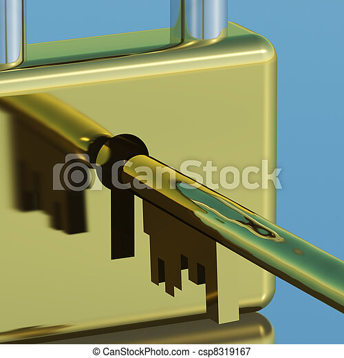Padlock With Key Closeup Showing Security Protection And Safety - csp8319167