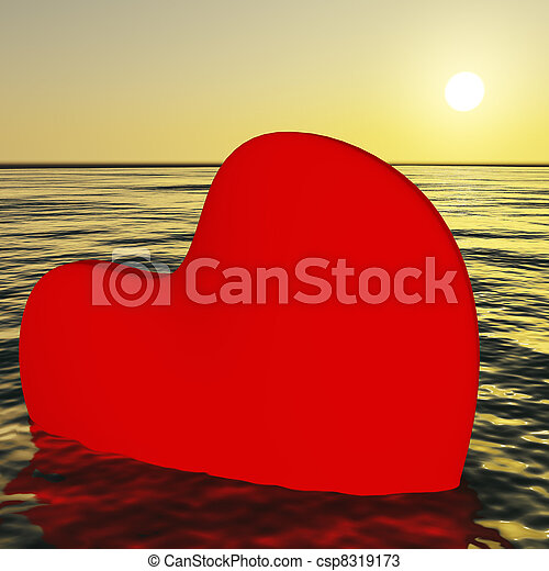 Heart Sinking Showing Loss Of Love And Broken Heart - csp8319173