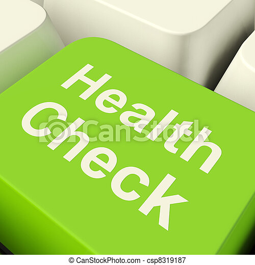 Health Check Computer Key In Green Showing Medical Examination - csp8319187