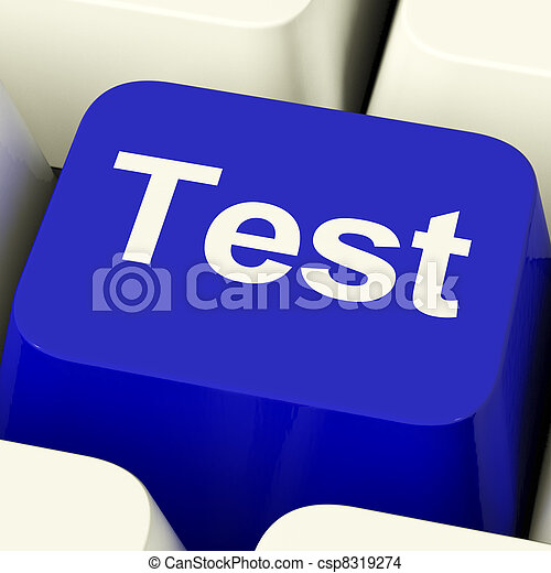 Test Computer Key In Blue Showing Quiz Or Online Questionnaire - csp8319274