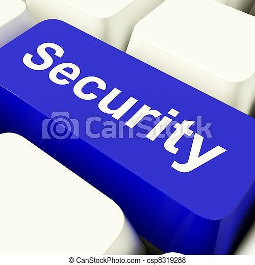 azul, Privacidade, mostrando, computador, segurança, tecla, segurança - csp8319288