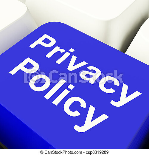 Privacy Policy Computer Key In Blue Showing Company Data Protection Term - csp8319289