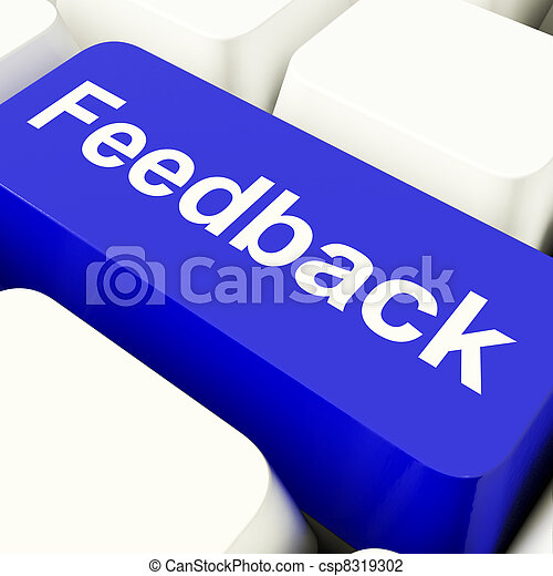 Feedback Computer Key In Blue Showing Opinions And Surveys - csp8319302