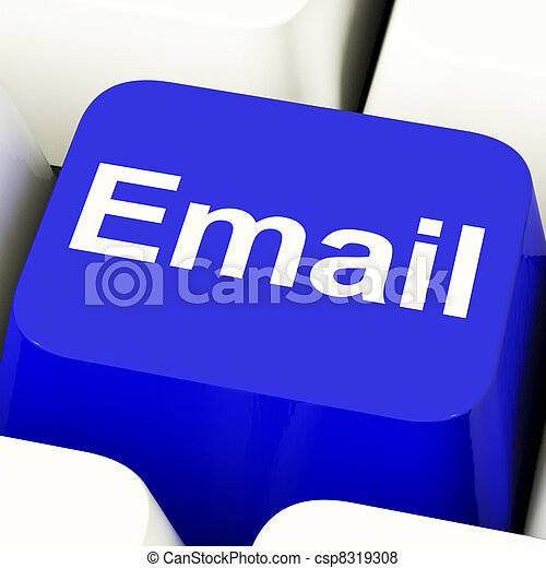 Email Computer Key In Blue For Emailing Or Contacting - csp8319308