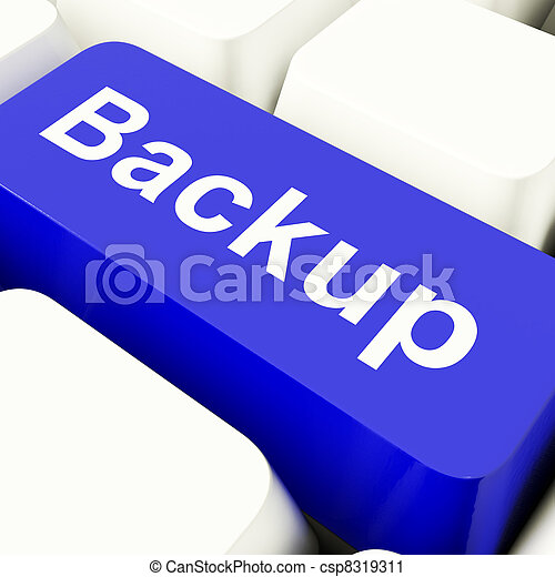 Backup Computer Key In Blue For Archiving And Storage - csp8319311