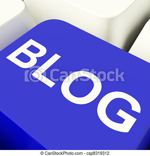 Blog Computer Key In Blue For Blogger Website - csp8319312