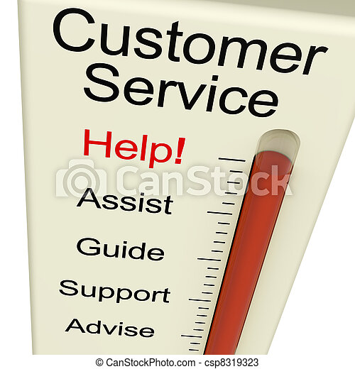 Customer Service Help Monitor Shows Assistance Guidance And Support - csp8319323
