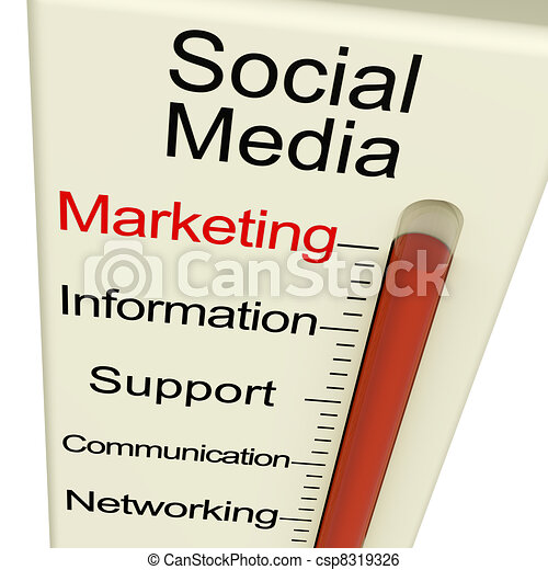 Social Media Marketing Monitor Shows Information Support And Communication - csp8319326