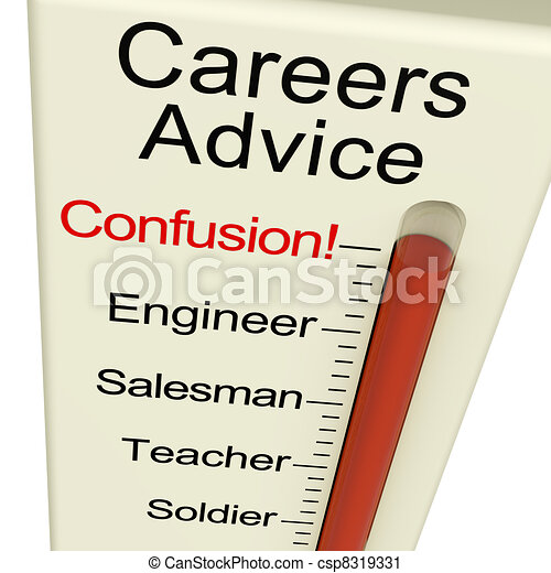 Clipart of Careers Advice Meter Confusion Shows Employment ...