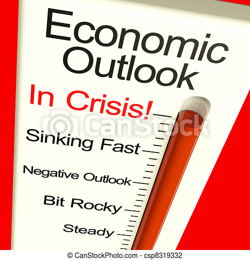 Economic Outlook In Crisis Monitor Showing Bankruptcy And A Depression - csp8319332