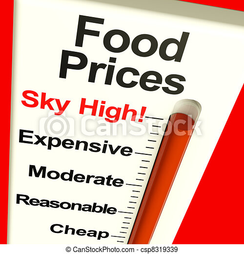 Food Prices High Monitor Showing Expensive Grocery Costs - csp8319339