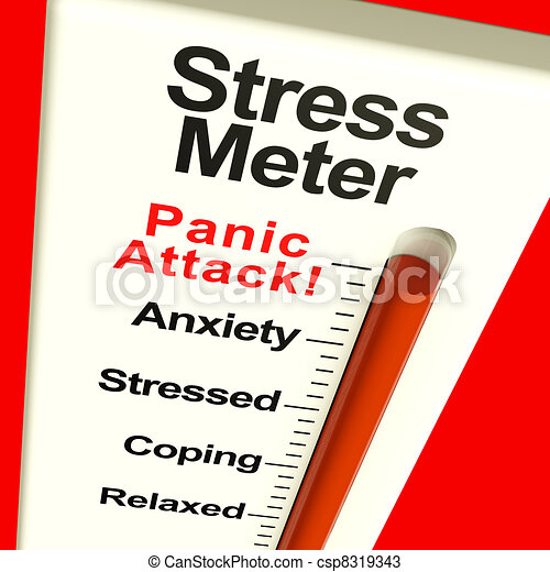 Stress Meter Showing  Panic Attack From Stress Or Worry - csp8319343