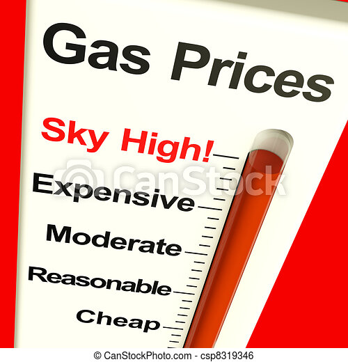 Gas Prices Sky High Monitor Showing Soaring Fuel Expenses - csp8319346
