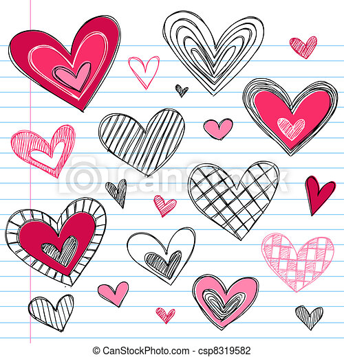 Illustration of Valentine's Day Love Hearts Doodles - Valentine's Day ...