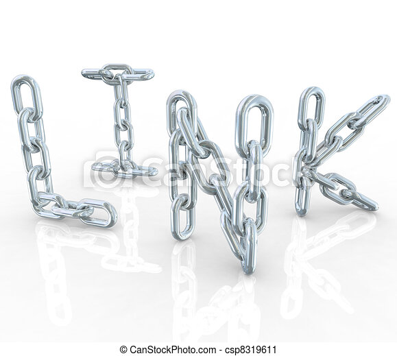 Link Metal Chain Links Connected in Word  - csp8319611