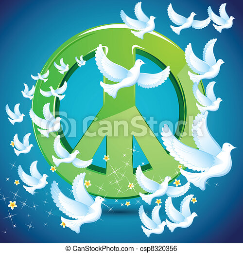Dove flying around Peace symbol - csp8320356