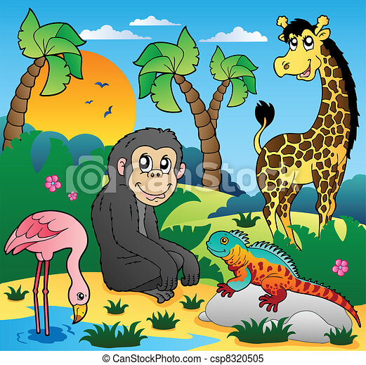 African scenery with animals 5 - csp8320505