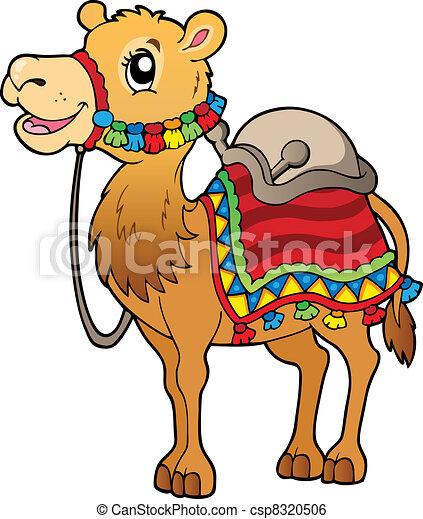 矢量-saddlery, 卡通漫画, 骆驼