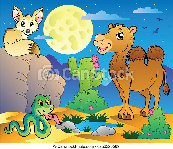 Desert scene with various animals 3 - csp8320569