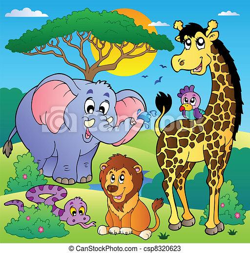 Savannah scenery with animals 2 - csp8320623