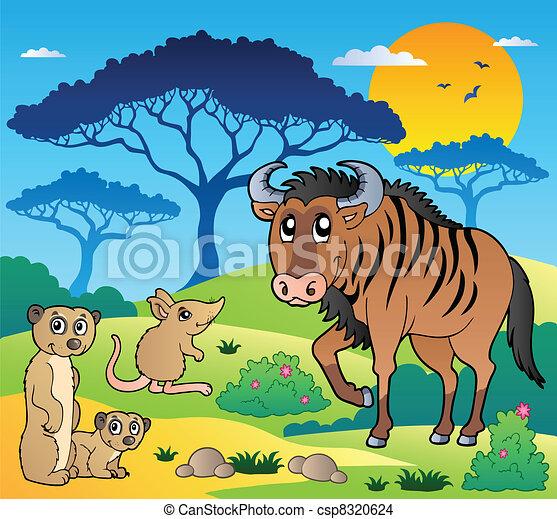 Savannah scenery with animals 3 - csp8320624
