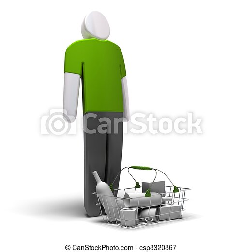 average consumer with green blank tshirt in front of a basket with goods inside, white background, 3d render - csp8320867