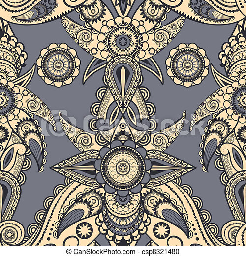 vector seamless eastern style paisley background - csp8321480