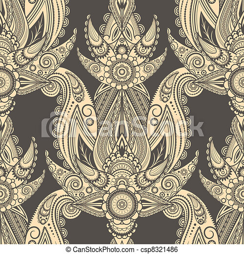 vector seamless eastern style paisley background - csp8321486