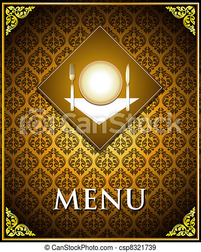 Vector food menu cover template - csp8321739