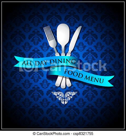 Vector dining food menu cover - csp8321755