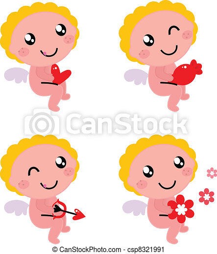 Cute valentine's cupid or angel isolated on white - csp8321991
