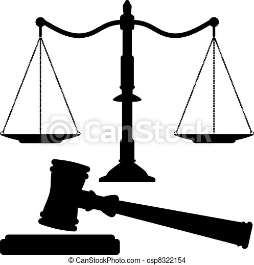 vector scales of justice and gavel - csp8322154