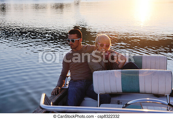couple in love  have romantic time on boat - csp8322332