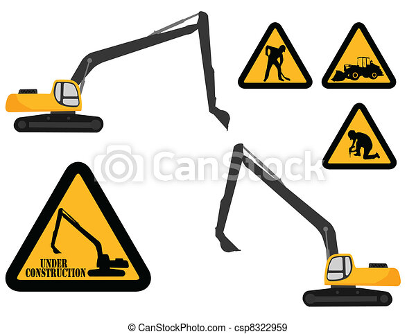 "excavator and ""under construction""  - csp8322959"