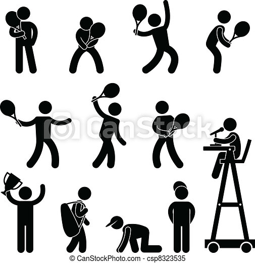 Tennis Player Umpire Pictogram Icon - csp8323535