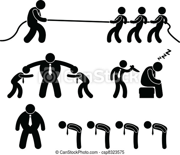 Business Worker Fighting Pictogram - csp8323575