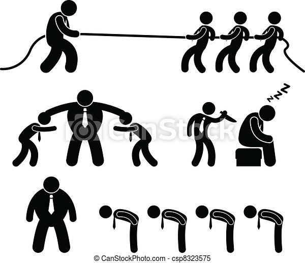 Business Worker Fighting Pictogram - csp8323575