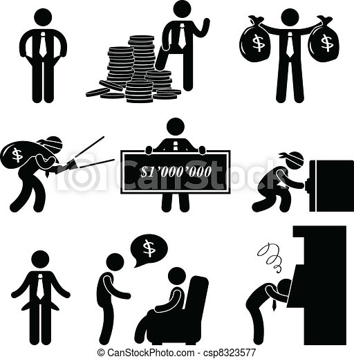 Rich and Poor Man People Pictogram - csp8323577