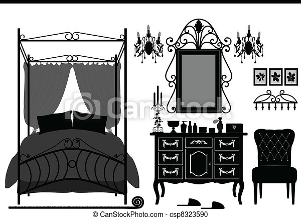 Royal Bedroom Room Old Furniture - csp8323590